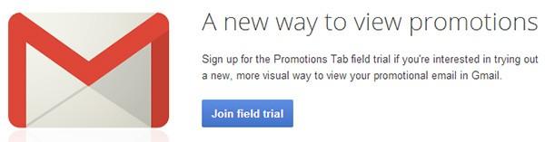La pagina per richiedere l'ammissione al test della nuova sezione Promozioni di Gmail