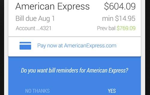 L'assistente Google Now ricorderà agli utenti quando è l'ora di pagare le bollette