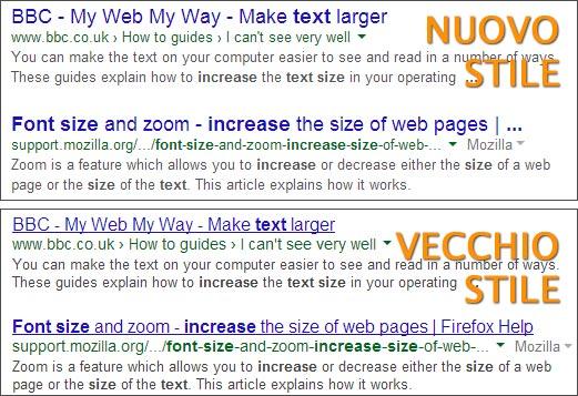 Il nuovo stile adottato da Google per i link nelle pagine dei risultati, a confronto con quello utilizzato fino ad alcuni giorni fa