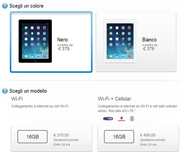 Apple nuovi ipad retina da 16gb a 379 euro webnews for Opzioni di rivestimenti leggeri