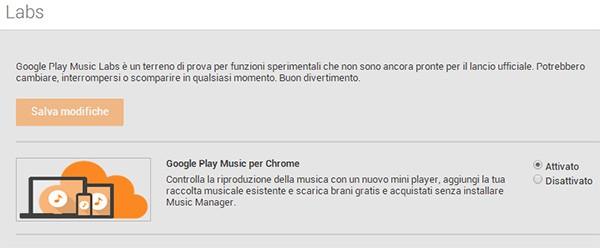 """L'opzione """"Google Play Music per Chrome"""" nella sezione Labs di Google Play Music, da attivare per poter effettuare l'upload dei brani tramite browser Web"""