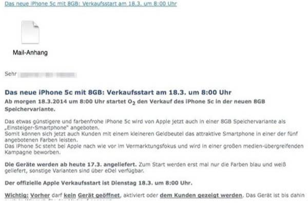Mail su iPhone 5C da 8GB