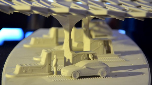 Stazione di servizio del futuro: modello 3D