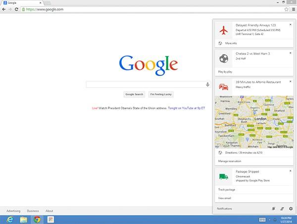 L'assistente Google Now integrato nell'interfaccia del browser Chrome