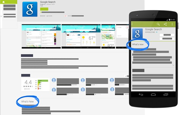 La sezione Novità per le applicazioni Android, sulle versioni Web e mobile di Play Store