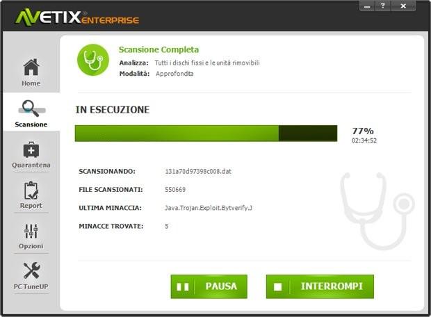 Scansione con antivirus Avetix
