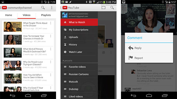 Le modifiche all'interfaccia per l'app Android di YouTube