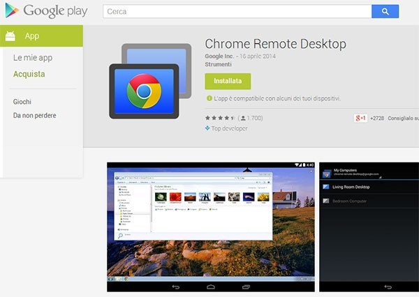 Chrome Remote Desktop su Google Play
