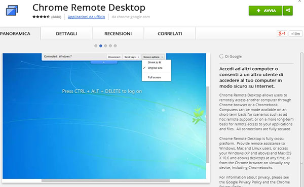 L'estensione Chrome Remote Desktop su Chrome Web Store