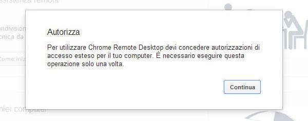 Chrome Remote Desktop: autorizzazioni