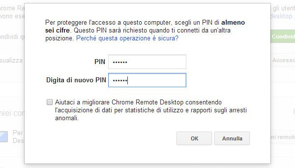 Chrome Remote Desktop: PIN di sicurezza