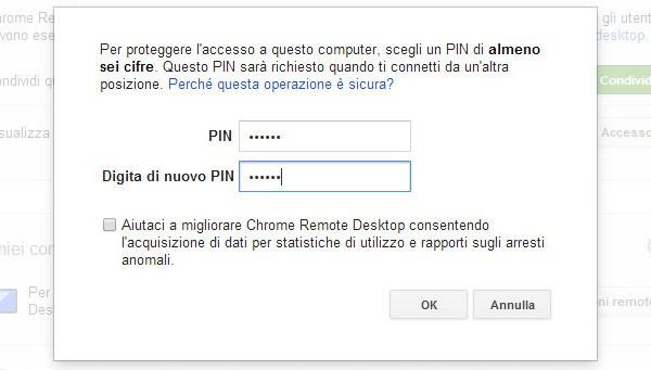 Chrome Remote Desktop: PIN di sicurezza