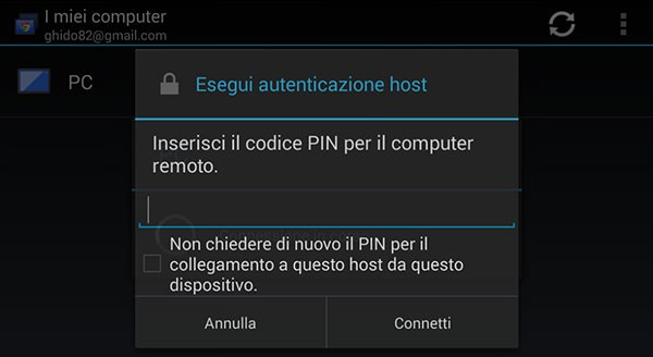 Chrome Remote Desktop: inserimento PIN