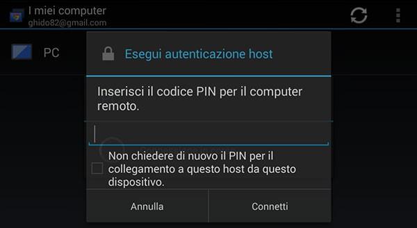 Chrome Remote Desktop: inserimento PIN