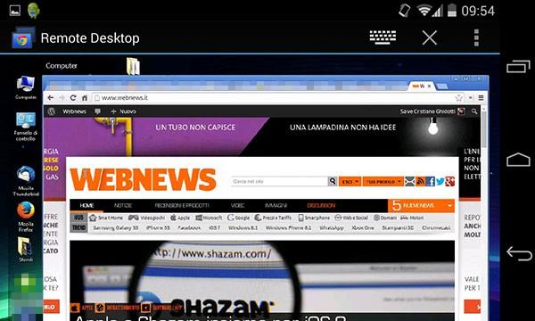 Chrome Remote Desktop in esecuzione su uno smartphone Android