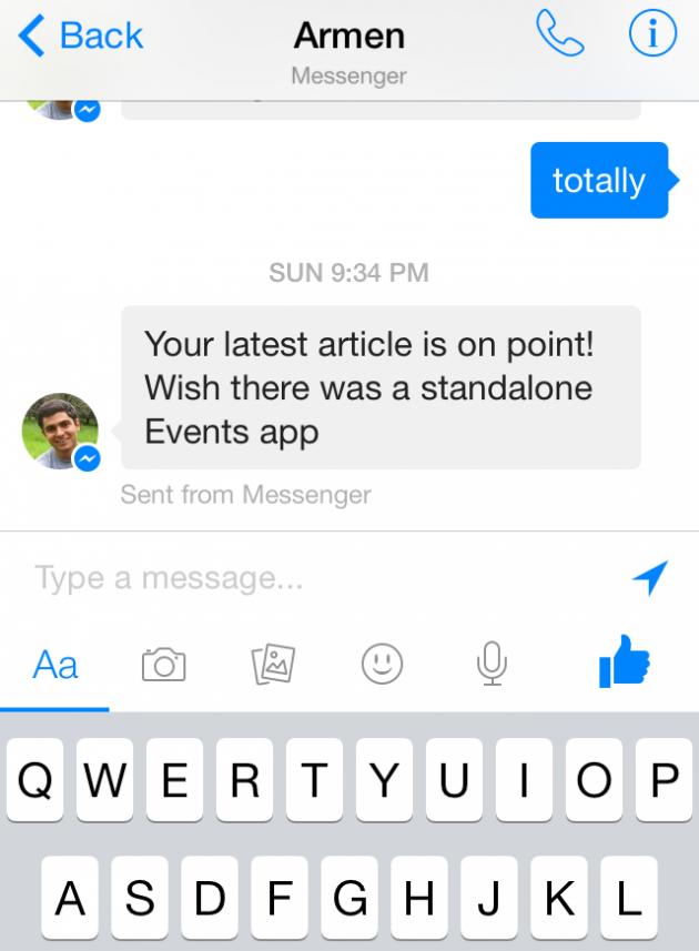 Nuove opzioni per la condivisione di foto, video e sticker su Facebook Messenger 5.0 per iOS.