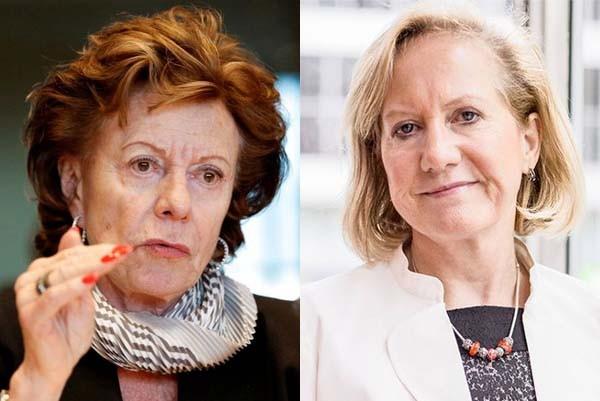 A sinistra: Neelie Kroes, commissario all'Agenda digitale europea. Alla notizia che il Belgio ha vietato Uber nel paese, ha reagito con veemenza, puntando l'indice contro Brigitte Grouwels (a destra), ministro dei trasporti. La quale ha difeso la sentenza e spiegato che Uber non soddisfa i criteri da lei stessa imposti negli ultimi cinque anni a tutale dei consumatori.