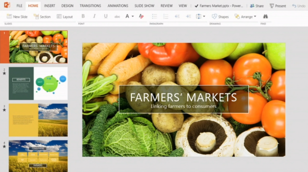La versione touch di PowerPoint per Windows 8.