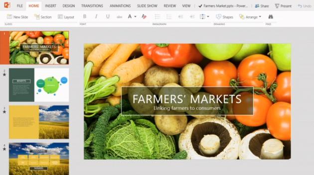 La versione touch di PowerPoint per Windows 8.