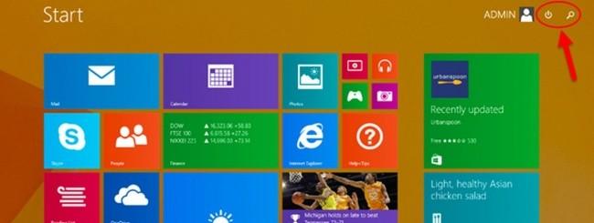 Windows 8.1 Update Power button