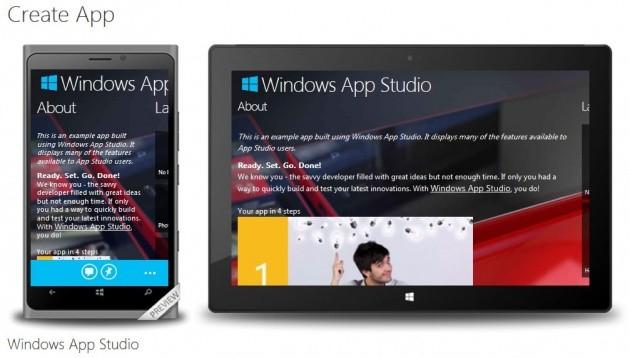 La nuova schermata per la creazione delle app universali.