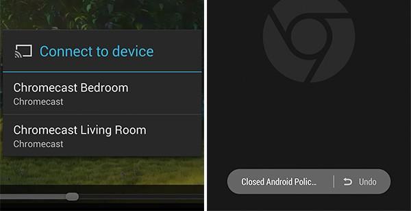 Il supporto a Chromecast per i video HTML 5 (a sinistra) e il pulsante per riaprire le schede chiuse di recente (a destra) in Chrome Beta 35 per Android
