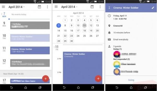 Screenshot per quella che potrebbe essere la nuova interfaccia dell'applicazione Google Calendar su dispositivi Android