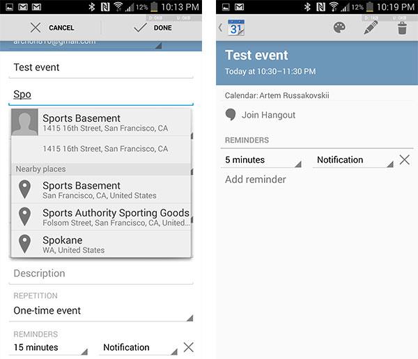 Le novità introdotte in Google Calendar per Android: suggerimenti per i luoghi nelle vicinanze (a sinistra) e videoconferenze tramite Hangouts (a destra)