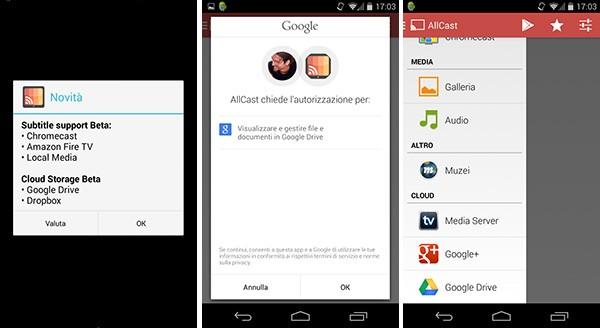L'applicazione AllCast di Koushik Dutta offre la possibilità di visualizzare sulla TV i contenuti salvati sui server della piattaforma Google Drive