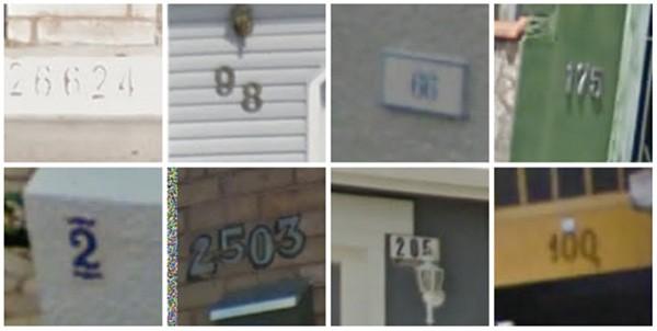 Alcuni dei numeri civici di Street View riconosciuti correttamente dalla tecnologia di Google
