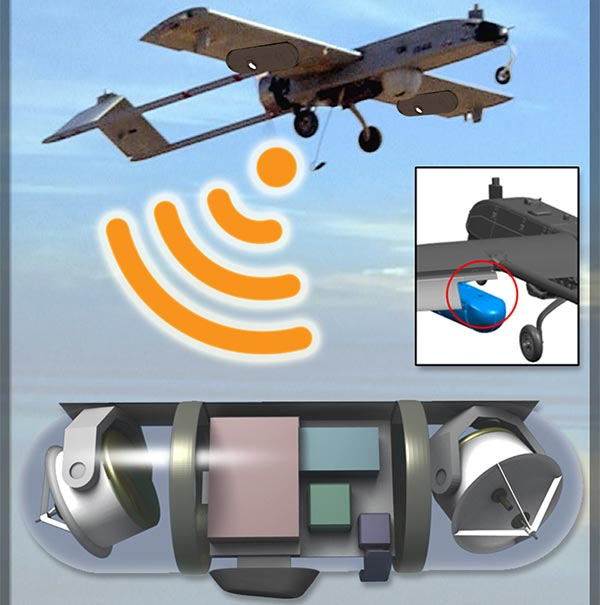 Il drone messo a punto da DARPA, con modulo per fungere da hotspot wireless