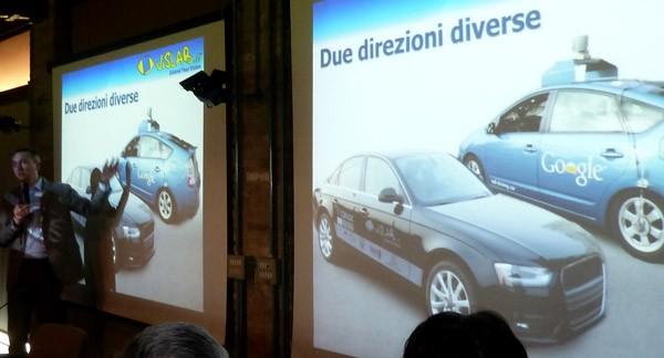 Il prof. Alberto Broggi illustra le differenze tra il prototipo DEEVA e la self-driving car di Google
