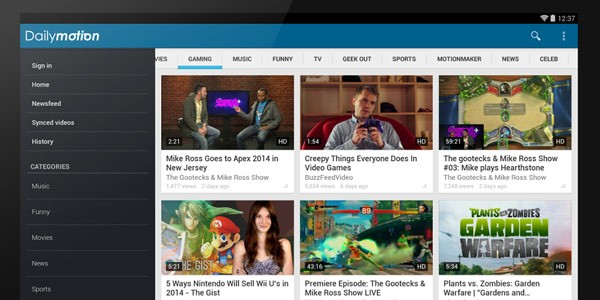 L'app di Dailymotion in esecuzione su un tablet Android