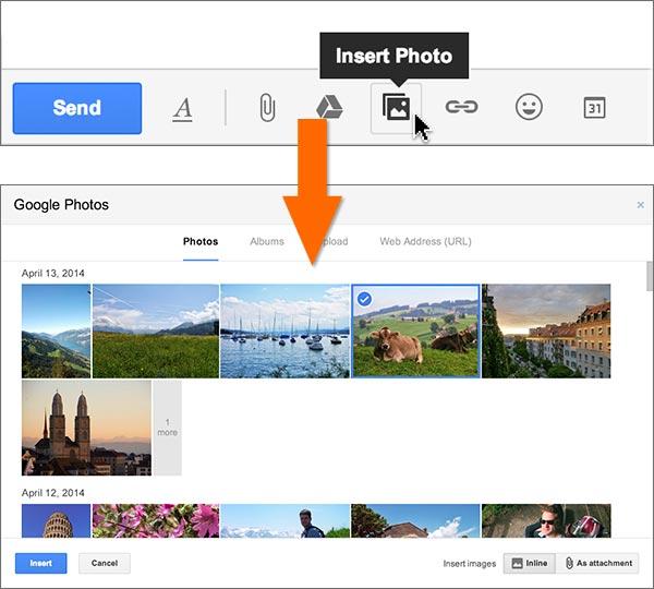 Il procedimento da effettuare per inserire in un messaggio di posta Gmail una delle fotografie scattate con lo smartphone e caricate automaticamente su server remoto con la funzionalità Auto Backup