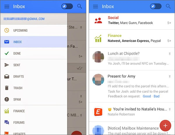 Screenshot per la presunta nuova interfaccia di Gmail su Android