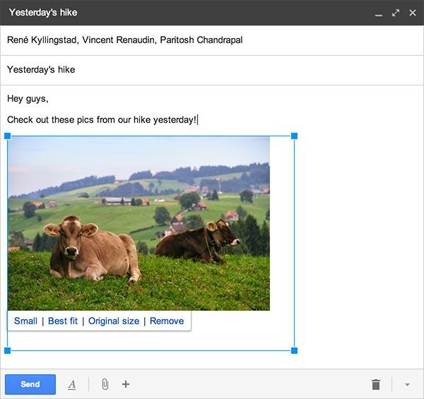"""Una delle immagini """"Auto Backup"""" inserite in un messaggio di posta elettronica su Gmail, da ridimensionare a piacimento"""