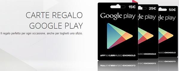 Le carte regalo di Google Play fanno il loro debutto ufficiale in Italia
