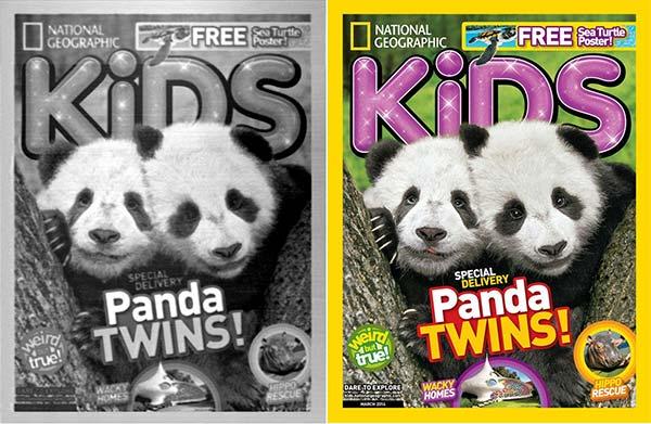 La copertina del magazine NatGeo Kids stampata con la Microscopic 3D Printer di IBM