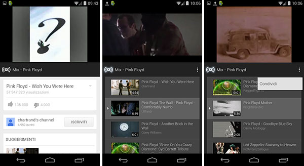 Screenshot per la funzionalità YouTube Mix, da qualche giorno disponibile anche su smartphone e tablet con sistema operativo Android