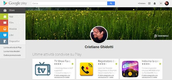 """La sezione """"Le mie attività"""" introdotta oggi da Google sulla versione Web della piattaforma Play Store"""