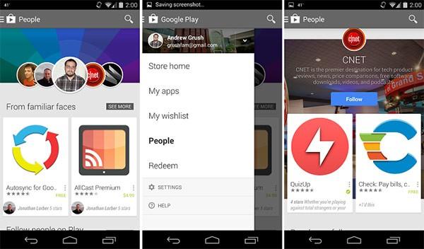 """La scheda """"People"""" (con tutta probabilità """"Persone"""" nella versione italiana) inclusa da Google nell'applicazione Play Store per dispositivi Android"""