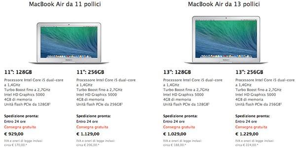 Prezzi MacBook Air