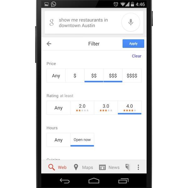 I filtri per la ricerca di alberghi e ristoranti su Google, tramite dispositivi mobile