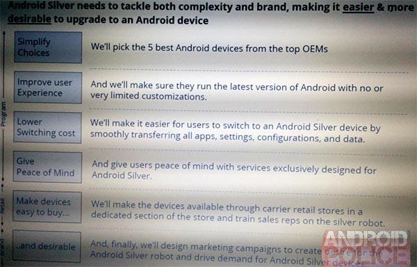 Una slide del progetto Android Silver proveniente dai test interni di Google
