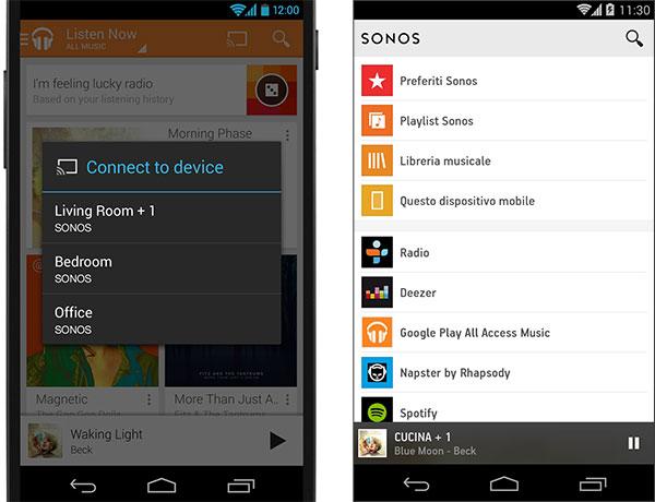 L'app di Google Play Music permette di riprodurre i brani direttamente sui diffusori Sonos presenti nell'abitazione