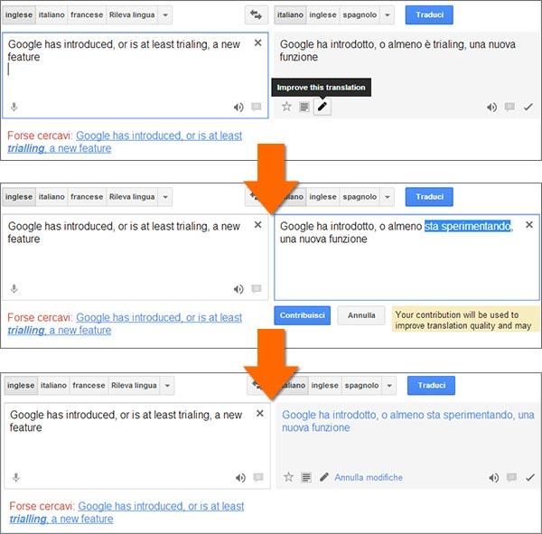 Da oggi è possibile modificare le traduzioni proposte dalla versione Web di Google Traduttore, così da contribuire al miglioramento del servizio