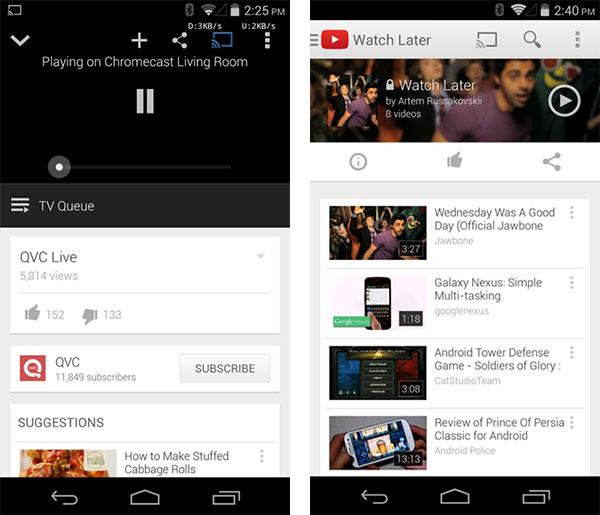 """Le novità introdotte in YouTube per Android: supporto a Chromecast per i live streaming (a sinistra) e restyling per la schermata """"Guarda più tardi"""" (a destra)"""