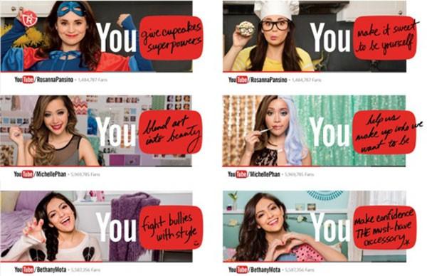 Gli spot pubblicitari di YouTube, con protagonisti Michelle Phan, Rosanna Pansino e Bethany Mota
