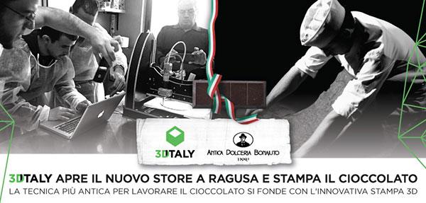 3DiTALY annuncia l'apertura di un nuovo store a Ragusa, dove sarà stampato in 3D anche il cioccolato