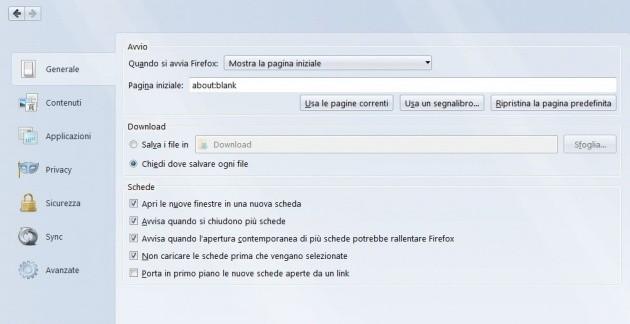 Le opzioni in-tab di Firefox 29